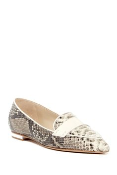 Love!  Schutz Elsie Snake-Embossed Pointed Toe Loafers