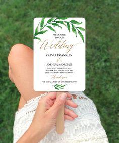 Fan Programs for Wedding - Fan Program Template - Greenery Wedding Program - Printable Fan Program - Wedding Fan Program - Instant Download by CreativeUnionDesign on Etsy https://www.etsy.com/listing/570683028/fan-programs-for-wedding-fan-program