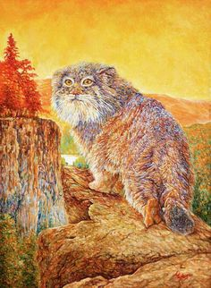 "Saatchi Art Artist L C; Painting, ""Manul autumn."" #art"