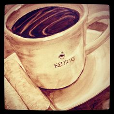 A #Keurig #coffee mug painted entirely out of coffee! This was a special gift given to one of our marketing directors. The artist is Angel Sarkela-Suar. To find out more about her art, visit her at coffeeart.com