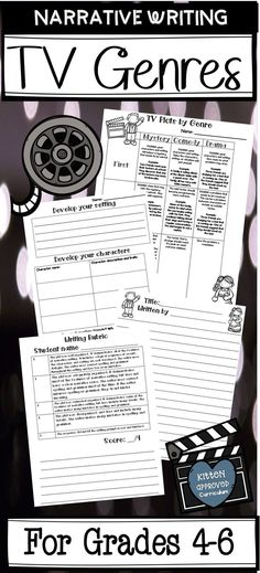 Narrative writing activity for 4th, 5th, or 6th grade will have students writing their own TV show episodes. Teaches genre components for comedy, mystery, and drama television shows. Comes with teacher's notes, graphic organizers, printable writing paper, and a narrative writing rubric for easy scoring (4 point grading system). Narrative Writing, Writing Skills, Writing Prompts, Writing Ideas, Opinion Writing, Writing Lessons, Fun Writing Activities, Classroom Activities, Spring Activities