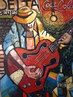 Paintings from the Mississippi Delta by Cliff Speaks ~ Speaks, who has been painting for six years, holds a bachelor of fine arts degree from the University of Southern Mississippi. Guitar Painting, Music Painting, Music Artwork, Guitar Art, Art Music, Buy Guitar, Music Life, Acoustic Guitar, Mississippi Delta