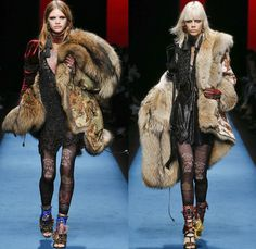 Dsquared2 2016-2017 Fall Autumn Winter Womens Runway Catwalk Collection Looks - Milan Fashion Week Milano Moda Donna Italy - Japanese Samurai Victorian Combat Military Camouflage Jodhpurs Riding Pants Equestrian Riding Breeches Curtain Tassels Fringes Embroidery Embellished Bedazzled Studs Fringes Sheer Lace Mesh Cargo Pockets Coat Furry Parka Leggings Ruffles Tribal Tattoo Art Ruffles Pistol Belt Velvet Cloak Denim Jeans