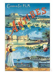 Antibes, Chemin de Fer P.L.M. Kunstdruck