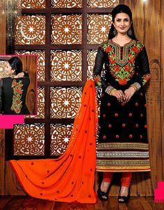 Divyanka Tripathi Cotton Resham Work Black Semi Stitched Straight Suit