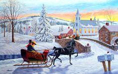 An Old-Fashioned Christmas by Richard De Wolfe ~ horse-drawn sleigh ~ bridge ~ church ~ winter