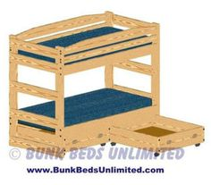 Bunk Bed Plan Twin Over Twin With Drawers Or Trundle (does Not Unstack)