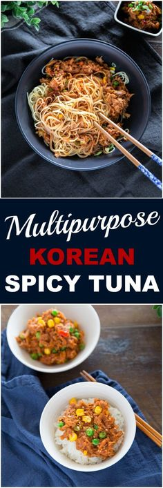 Korean spicy tuna is a very versatile dish, which can be served with rice, pasta or even sandwiches. It's super easy and quick to make and the flavor is incredible! | MyKoreanKitchen.com   via @mykoreankitchen