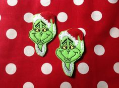GRINCH - 2 OVERSIZED Machine Embroidered Embellishments / Appliqués - Ready To Ship - pinned by pin4etsy.com