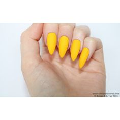Matte yellow stiletto nails, Fake nail, Stiletto nail, Kylie jenner,... (£9.96) ❤ liked on Polyvore featuring beauty products, nail care, nail treatments and nails