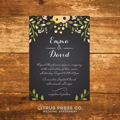 Chalkboard Wedding Invitation with flowers  by CitrusPressCo