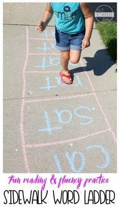 Sidewalk Word Family Ladder Is Such A Fun Way For Kids To Practice Reading And Achieve Fluency With Some Outdoor Summer Learning FUN For Preschool Prek Kindergarten First Grade And Second Grade Kids. E Learning, Toddler Learning, Preschool Learning, Teaching, Word Family Activities, Outdoor Activities For Kids, Outdoor Learning, Summer Activities, Toddler Activities