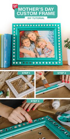 Invite the kids to help make this colorful frame for Mother's Day. 1) Choose a wooden frame from a thrift store or craft store, then finish it in your choice of acrylic paint colors. Let dry. 2) Use craft glue to affix jewels or embellishments to the frame. Let dry. 3) Add Mom's favorite family photo for a gift she's guaranteed to love!