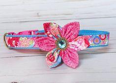 Pink Girl Flower dog collar Thanksgiving wedding dog dog
