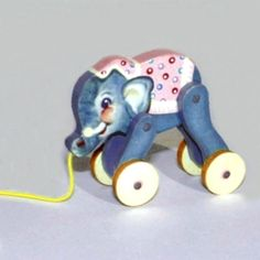 Pink Baby Elephant Pull Toy