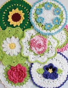 Floral Bouquet of Dishcloths Set 1 Crochet Pattern