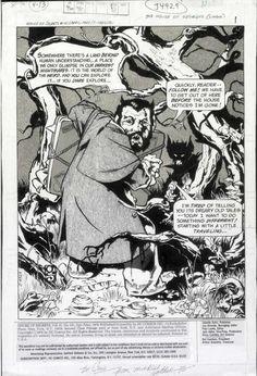 GOLDEN, MICHAEL P/I - House Of Secrets #151 pg 1 full Splash, Horror-Host Abel in haunted woods 1979 Comic Art