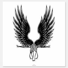 Shop Fallen Angel Woman Pinup art Sticker created by ElizabethBCDesigns. Angel Wings Art, Angel Wings Drawing, Fallen Angel Wings, Angel Tattoo For Women, Fallen Angel Tattoo, Wing Tattoo Designs, Angel Tattoo Designs, Tattoo Son, Back Tattoo