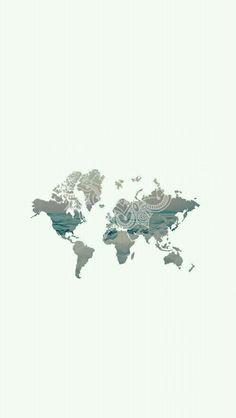 World map/ sea/ zentangle mandala/ wallpaper