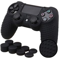 Pandaren STUDDED Antislip Silicone Cover Skin Set for PlaySation 4 controllerBlack controller skin x 1  FPS PRO Thumb Grips x 8 -- Want additional info? Click on the image.