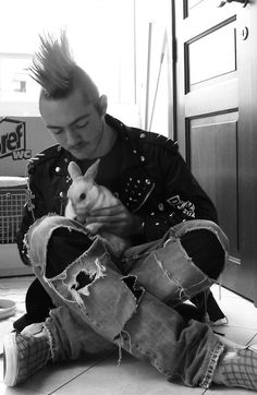 #punk with rabbit.     So many guys have huge hearts~
