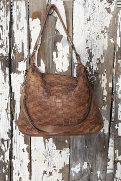 Soft Brown Italian Leather Woven Handbag Thick Strap