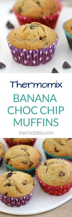 Banana muffins are an absolute classic and when you add in some chocolate, you end up with something even better! Say hello to these delicious Thermomix Banana Chocolate Chip Muffins. Delicious Cake Recipes, Fun Easy Recipes, Yummy Snacks, Sweet Recipes, Dessert Recipes, Choc Chip Muffins Recipe, Banana Chocolate Chip Muffins, Thermomix Banana Muffins, Lunch Box Recipes