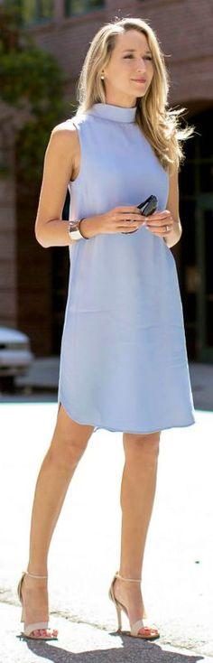 Simple. periwinkle sleeveless mock collar tunic dress, nude heeled scandals + sunglasses {topshop, dune london, stella mccartney}