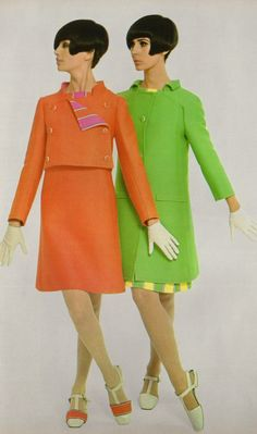 1966 Dior orange green mod shift coat and shoes designer vintage couture 60s color photo print ad