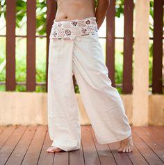 Organic Cotton Fisherman Pants Japanese Tribal Pattern Wrap-around Waist Yogo Plain Unisex Trousers (SOL-Cream)