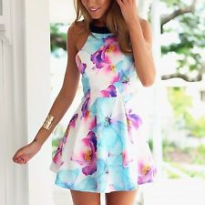 1X Women Summer Sexy Floral Casual Party Evening Cocktail Short Mini Dress
