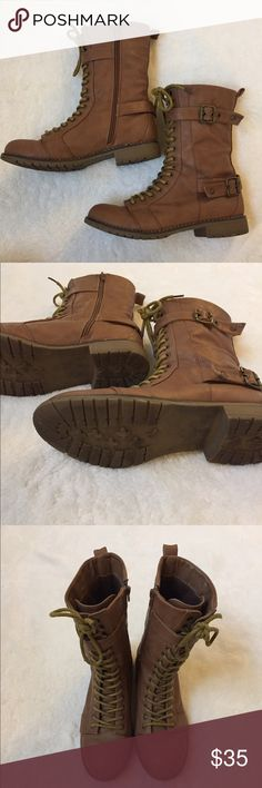 Brown Cathy Jean Combat Boots with Zipper Lace up appearance with zipper on side for easy on and off. Awesome  traction. Size 9. I'm normally a size 8 and these fit me great. I just don't wear them as much anymore. Cathy Jean Shoes Combat & Moto Boots