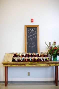 I really like the Jam as a wedding favor! Simple, homade, and cheap. Def will be doing this. =)