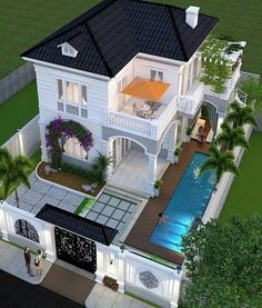 Trendy exterior facade house dream homes 59 Ideas House Plans Mansion, Sims House Plans, House Layout Plans, House Layouts, 2 Storey House Design, Sims House Design, Duplex House Design, Modern Exterior House Designs, Dream House Exterior