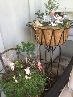 Miniature Fairy Garden - DAY AT THE PARK and Miniature Fairy Garden - Fairy Sitting are connected by a rope ladder. 6/2015