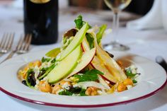 Red and Green Apple Endive Salad with Gorgonzola Cheese, Hazelnuts and Mustard Vinaigrette.  Suggested Wine: Pine Ridge Chenin Blanc~Viognier Blend 2012  Vista Dome Lunch on the Napa Valley Wine Train