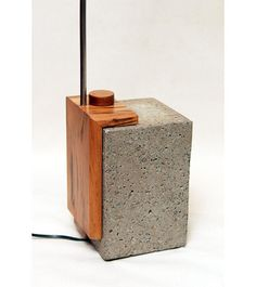 Floor lamp,concrete and hardwood base magnificient Tigerwood hardwood,dimable led switch customable,stainless steel modern lamp,original