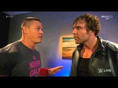 "Dean Ambrose & John Cena Funny Backstage segment ""Why So Serious?"""