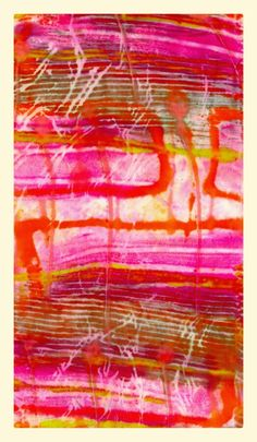 Monoprint  with dyes on silk by Kathy Klompas