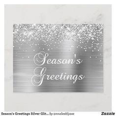 Season's Greetings Silver Glittery Faux Foil Holiday Postcard