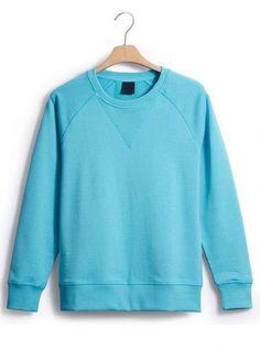Water Blue Classic Plain Collar Raglan Sleeve Sweatshirt$43.00