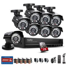 Sannce HDD Full CCTV DVR Video Surveillance System Outdoor/Indoor Metal Superior Night Vision Security Camera System, QR Code Scan Easy Setup - www. Wireless Security Camera System, Best Home Security, Wireless Home Security Systems, Security Cameras For Home, Security Surveillance, Security Alarm, Surveillance System, Video Security, Digital Video Recorder