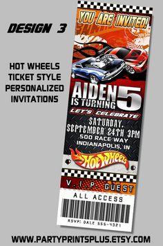 Hot Wheels Race Cars Ticket Birthday Party Invitations Birthday