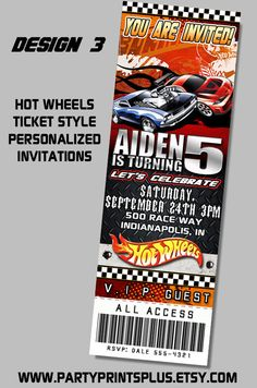Hot Wheels Invitations Personalized Theme By Partyprintsplus