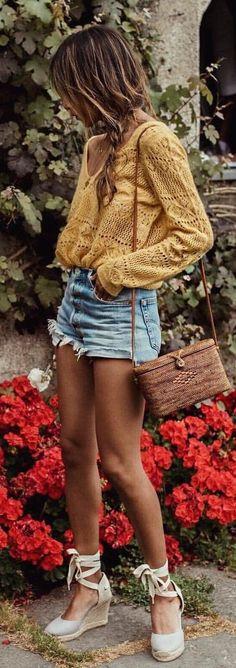 boho style addict: top + shorts + bag