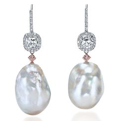 Cellini Jewelers Baroque South Sea Pearl Drop Earrings  Baroque South Sea pearls suspended from cushion-cut white diamonds, and accented with natural fancy pink diamonds; on a diamond-set French ear wire, in 18-karat white gold.