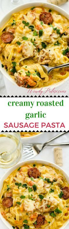 Creamy Roasted Garlic Sausage Pasta This gluten free pasta recipe can be made healthier with the use of quinoa cream! #SavorYourSummerRecipes #ad
