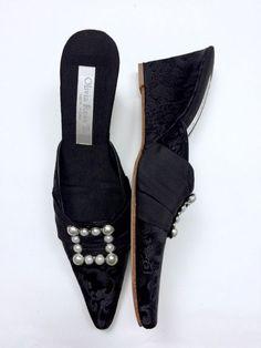 Olivia Rose Tal 8 Black Brocade Pearls Wedge Mules Slides Heels Pumps Leather…
