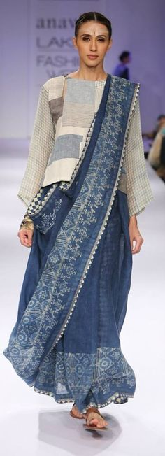 Indigo.  South Asian sari.