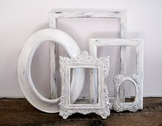 Open Picture Frame Set Of 5  Shabby Chic Gray and White Wall Decor. $39.00, via Etsy.